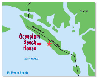 location map vacation rental Ft. Myers Beach, FL